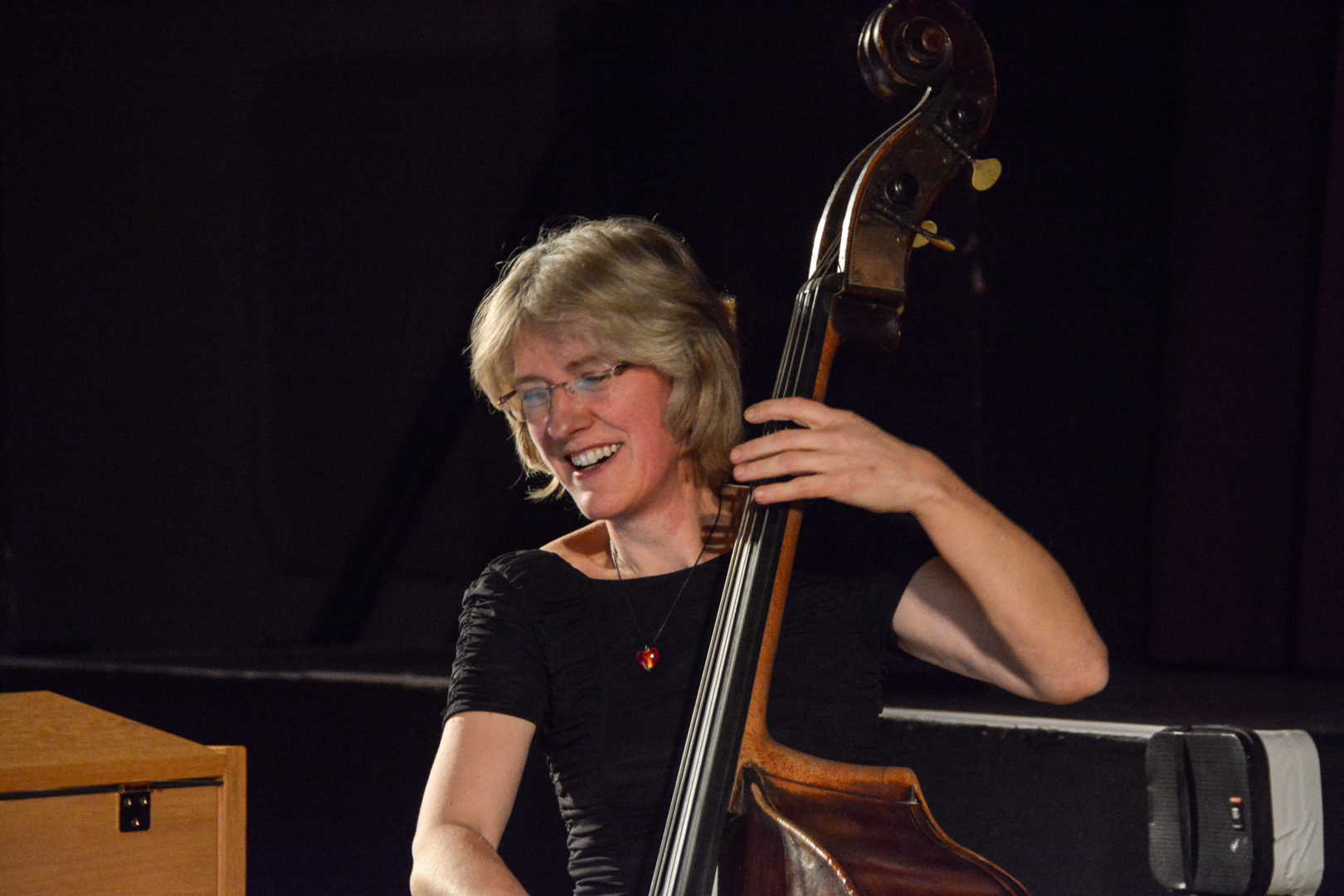 Marianne Windham, bass player, teacher and jazz promoter based in Guilford.