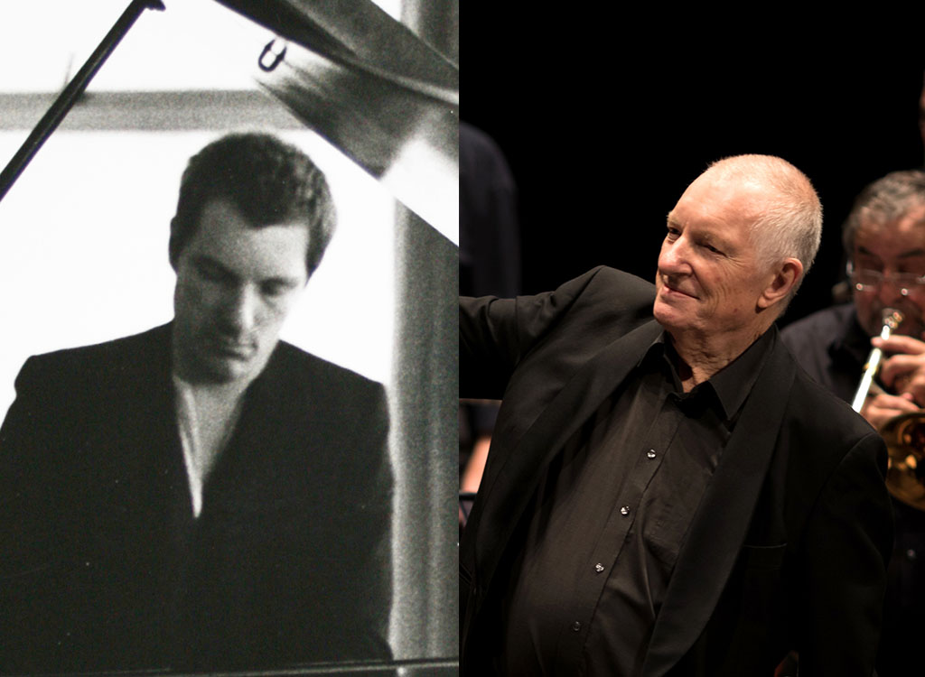 Mike Westbrook - early career photo and a more recent photo combined.